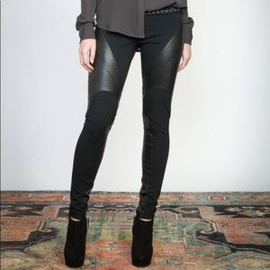 HAUTE HIPPIE Ponte Pants Leather Panels Black UU21